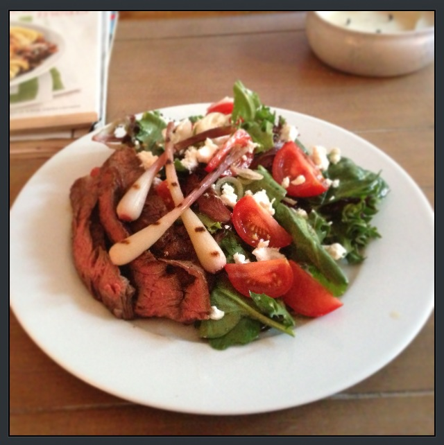 Steak Salad with Grilled Pickled Ramps, Tomatoes & Goat Cheese
