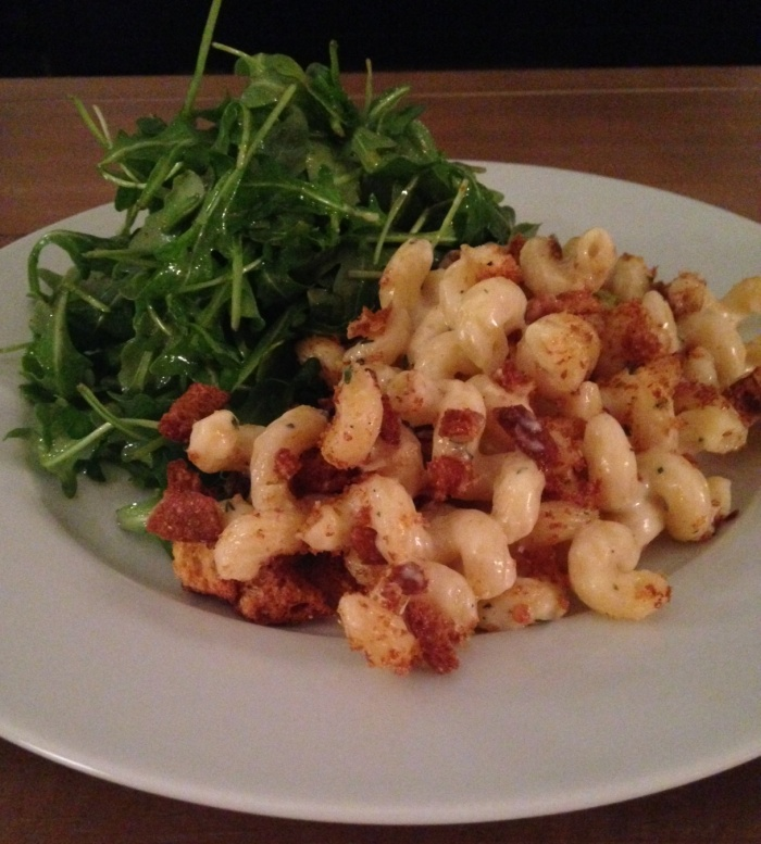 Baked Mac & Cheese with Arugula Salad