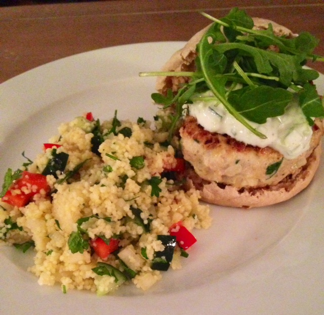 Turkish Turkey Burger with Tzaziki & Couscous Tabboule