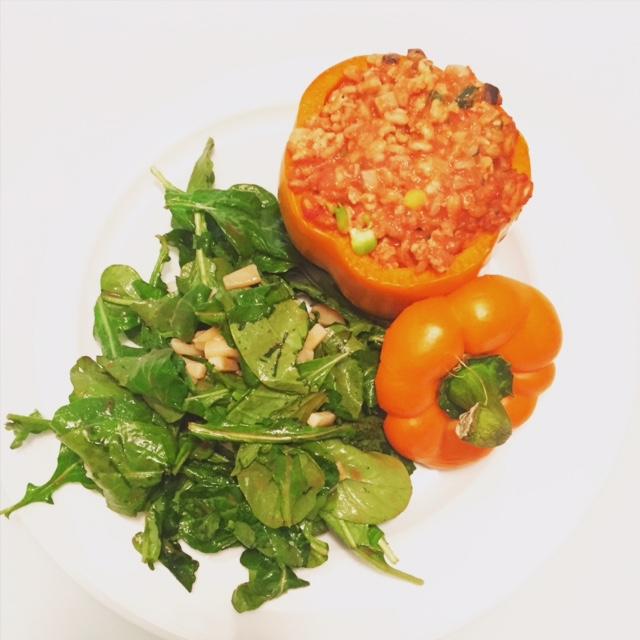 Stuffed Peppers & Arugula Salad